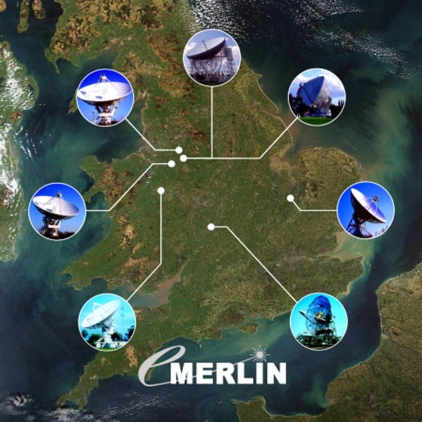 The e-MERLIN network of up to seven radio telescopes is linked by an optical fibre network to a control centre at Jodrell Bank. They operate as a single telescope with a diameter of 217 kilometres, producing extremely sharp views of the radio universe.