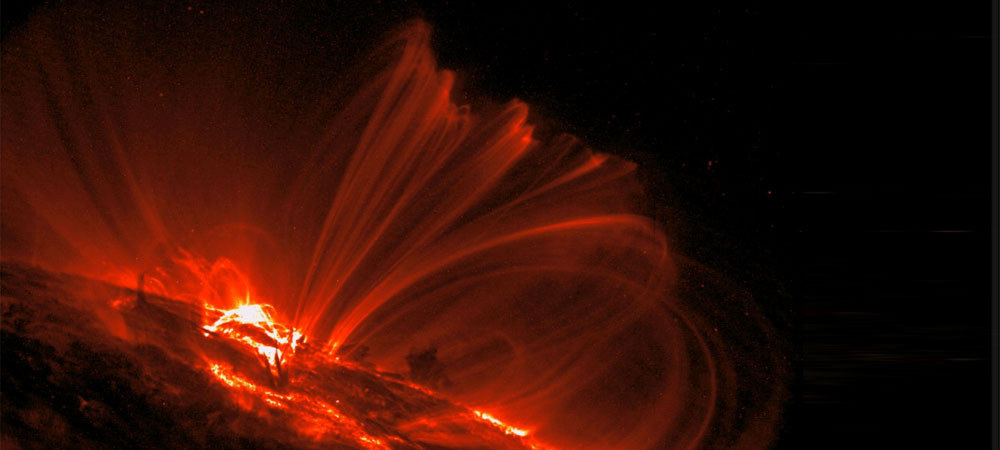 Arcades of solar plasma filaments in the lower corona of the Sun.