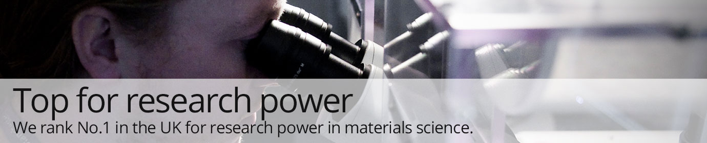 Top for research power. We rank No.1 in the UK for research power in materials science.